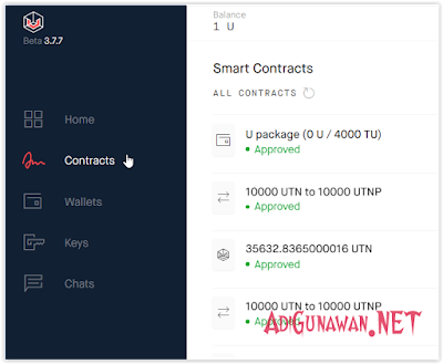 Key Contract UTN dan Key Contract U Token