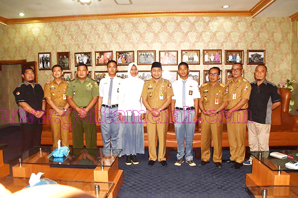 Tiga Paskibraka Lampung Utara Sowan Ke Bupati