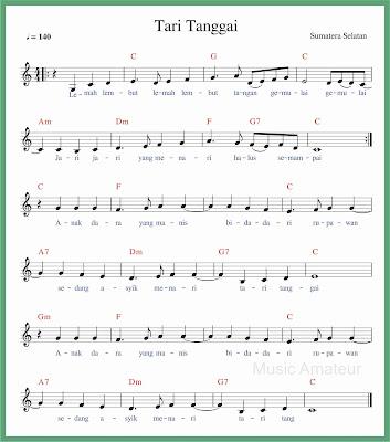 not balok lagu tari tanggai