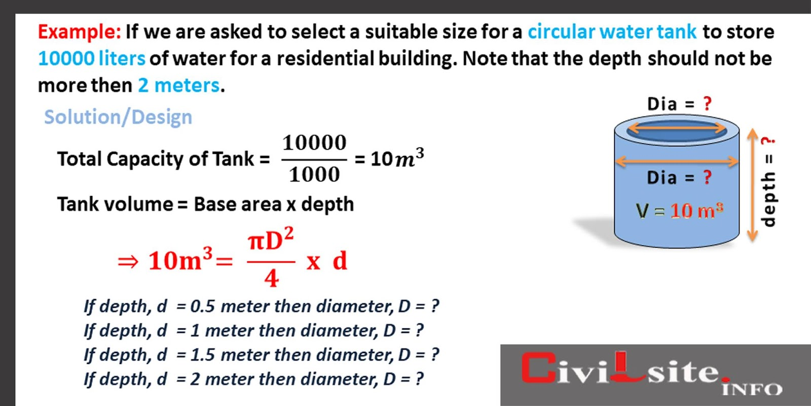 10000 Liter Capacity Circular Water Tank Design Calculation