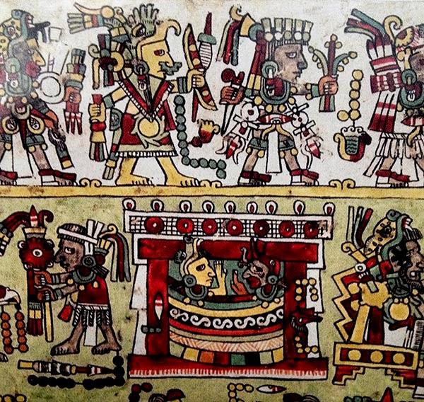 En este mismo códice aparece después la misma pareja cubierta por una manta y en la parte superior unos personajes les llevan ofrendas, como por ejemplo el uso para el telar de cintura, flechas, plantas y otros objetos.