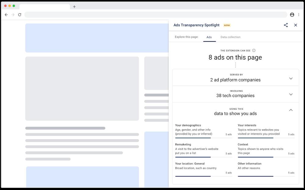 Google pubblica un'estensione di Chrome per fornire info sugli annunci