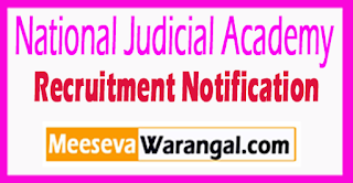 NJA National Judicial Academy Recruitment Notification 2017 Last Date 18-08-2017