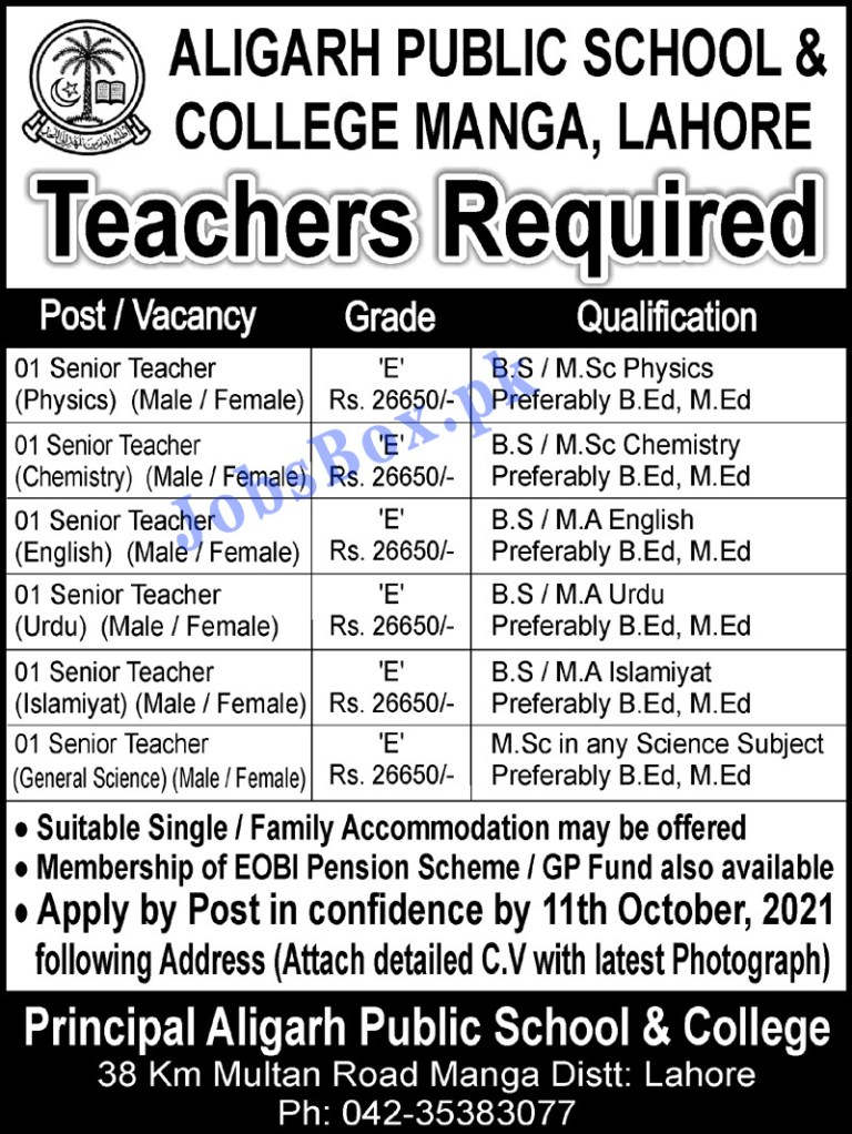 Aligarh Public School and College Lahore Jobs 2021 in Pakistan