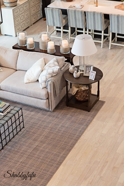 The living room area in the HGTV Dream Home 2016 - coffee table and couch display.