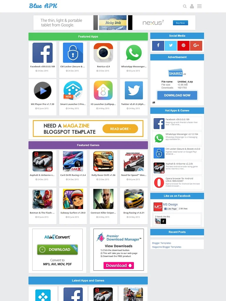 Blue APK Android Apps Download Blogger Template - Ảnh 1