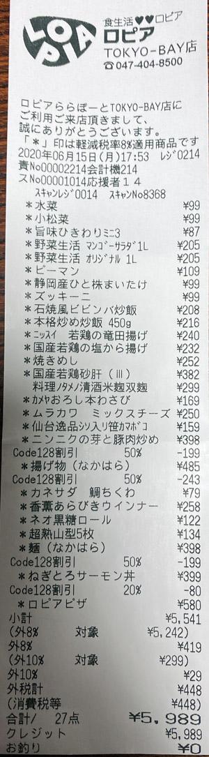 ロピア ららぽーとTOKYO-BAY店 2020/6/15 のレシート