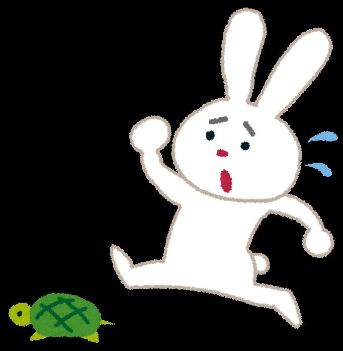「追いかける イラスト 無料 うさぎ 亀」の画像検索結果