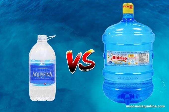 So sánh nước tinh khiết Aquafina và Bidrico