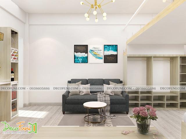 Thiết kế và thi công căn hộ chung cư ~30m2 có gác lững - Phòng khách