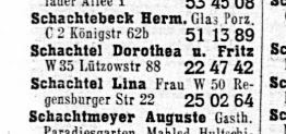 Dorothea and Fritz Schachtel in the 1940 Berlin Telephone book (1940 Amtliches Fernsprech Buch für den Bezirk der Reichspostdirektion Berlin)