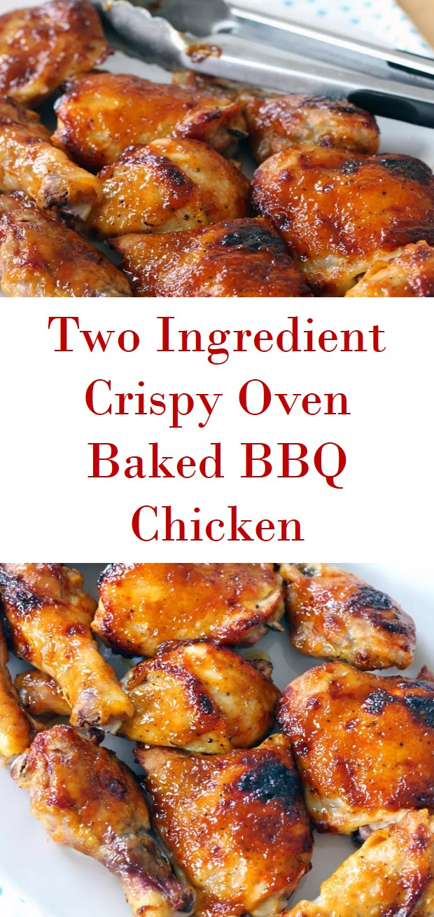 TWO INGREDIENT CRISPY OVEN BBQ CHICKEN
