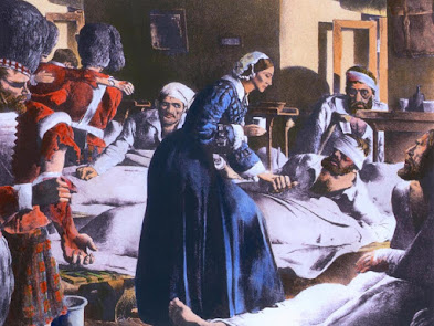 Florence Nightingale 1820-1910 ministering to soldiers   at Scutari a suburb of Istanbul during the Crimean War,   Lithograph by Robert Riggs ca. 1930 with modern watercolor