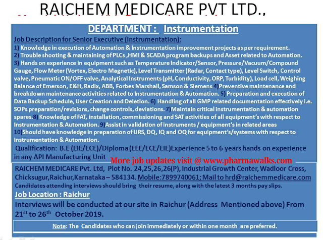 Raichem Medicare - Walk-in interview for Sr. Executive (Instrumentation) on 21st - 26th October, 2019