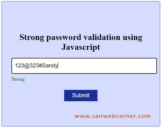 Strong password validation using JavaScript