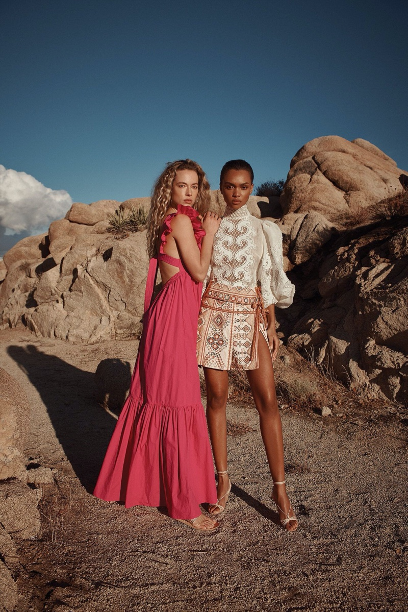 Samantha Archibald and Hannah Ferguson star in Intermix spring-summer 2020 campaign