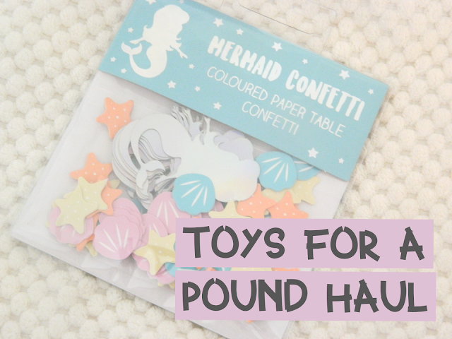 A photo showing a pack of mermaid themed confetti with the title 'toys for a pound haul'