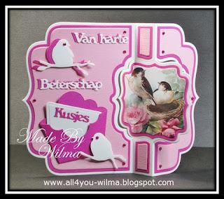 Swing- of draai- beterschapskaart met een envelopje en vogeltjes. Swing- or twist- get well-card with an envelope and little birds.