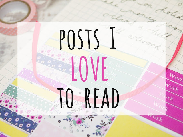 a picture of a notebook with pink floral stickers, overlaid with black and pink text reading 'posts I love to read'