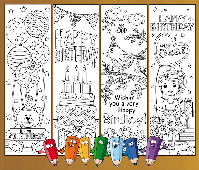 coloring birthday bookmarks for her