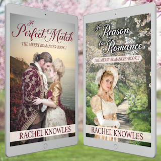 Covers for A Reason for Romance and A Perfect Match by Rachel Knowles on a tablets