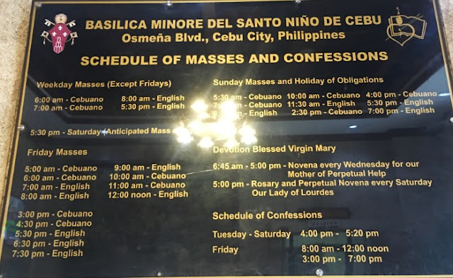 Basilica del Sto Nino Mass Schedules and Confession Schedules