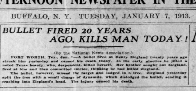 Kisah Henry Ziegland sudah banyak diceritakan di berbagai media seperti website Menelusuri Kisah Misterius Henry Ziegland, Mati Terkena Peluru yang Menunggu Selama 20 Tahun, Asli atau Hoax?