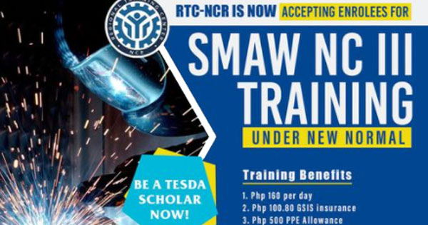SMAW NC III Free Training Under New Normal with Training Benefits