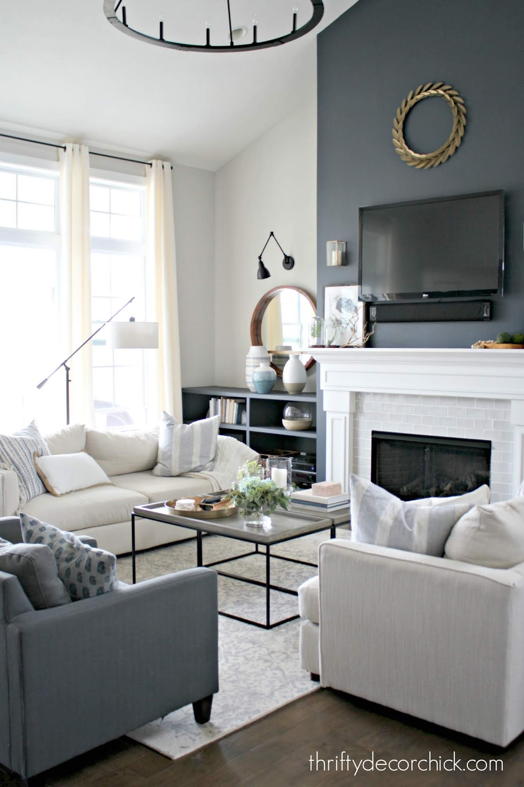 double coffee table in large family room