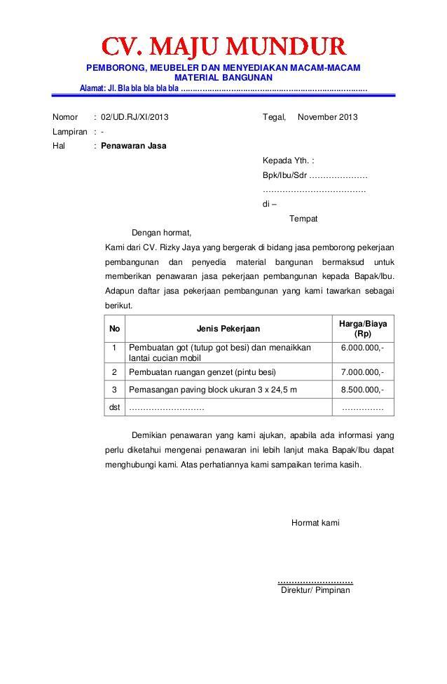 Contoh Format Surat Penawaran Barang ke Perusahaan Swasta atau Pemerintah