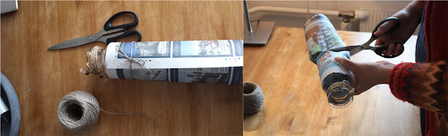 Step 3: Use a hemp string to tighten the paper, and then cut the newspaper