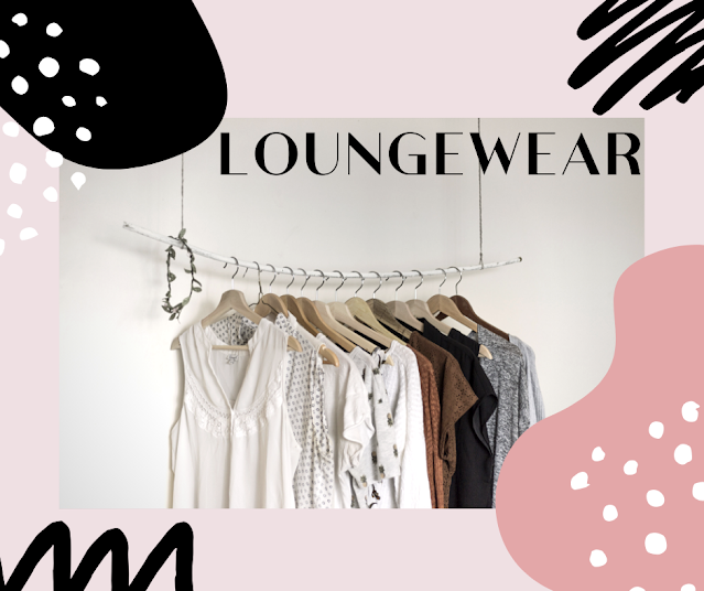 Loungewear in a rack with pink and black graphics