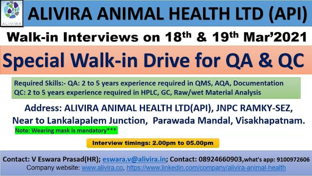 Alivira Animal Health | Walk-in interview for QC/QA on 18& 19th Mar 2021
