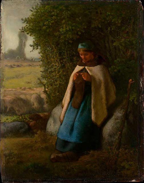 Жан Франсуа Милле - Пастушка, сидящая на камне. 1856