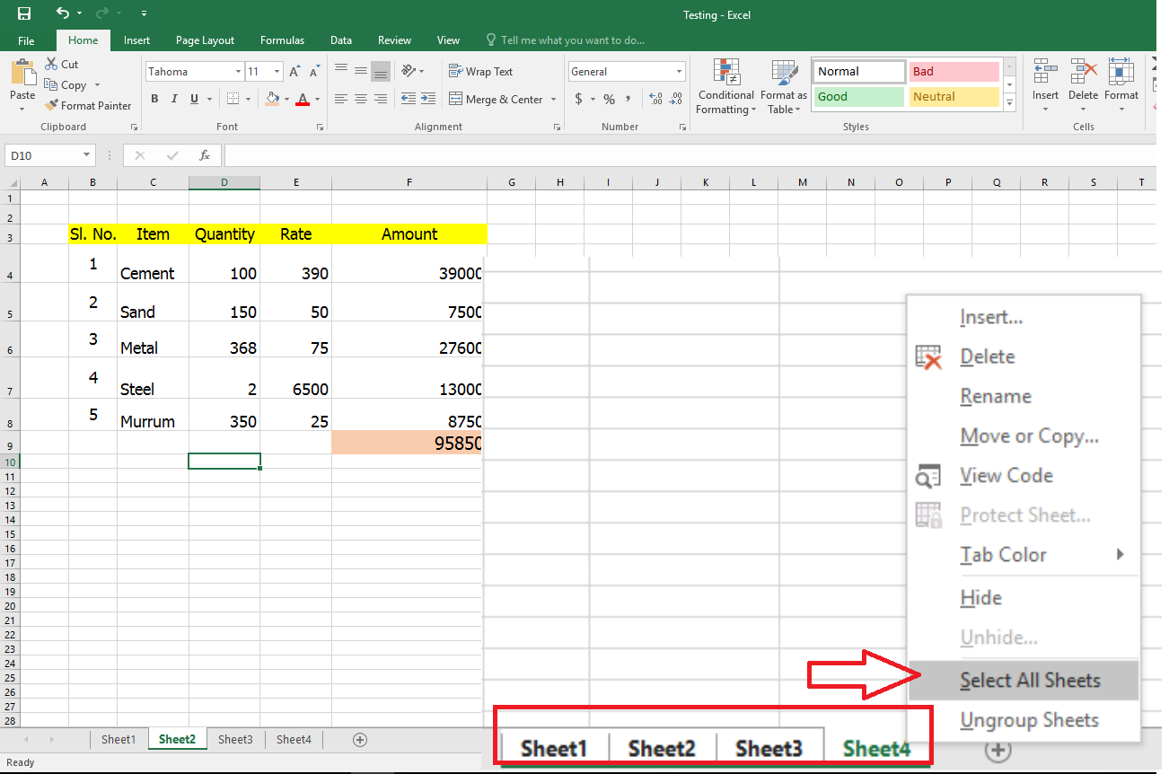 Learn New Things How To Select Amp Edit All Excel Sheet At