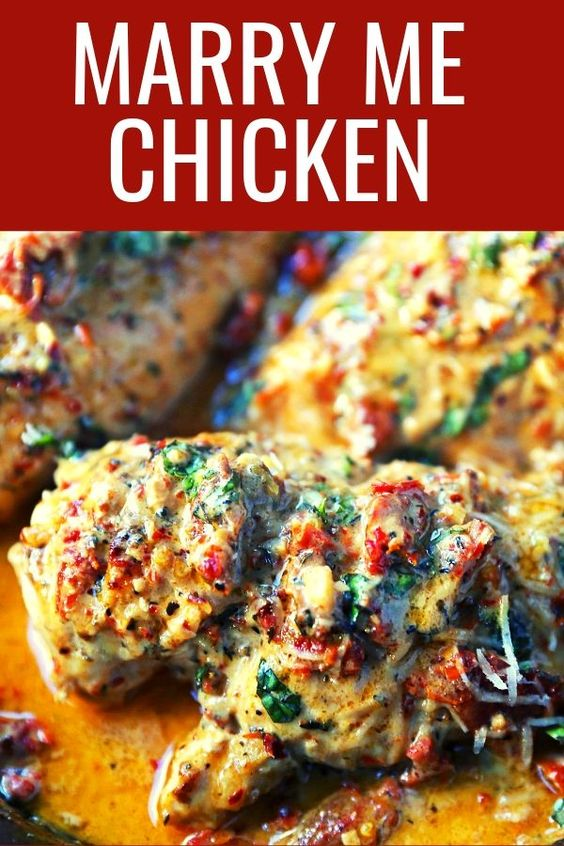 Marry Me Chicken. Famous skillet chicken in a sundried tomato parmesan cream sauce with fresh basil. It will definitely inspire marriage proposals! chicken #skilletchicken #marrymechicken #30minutemeal #30minutemeals