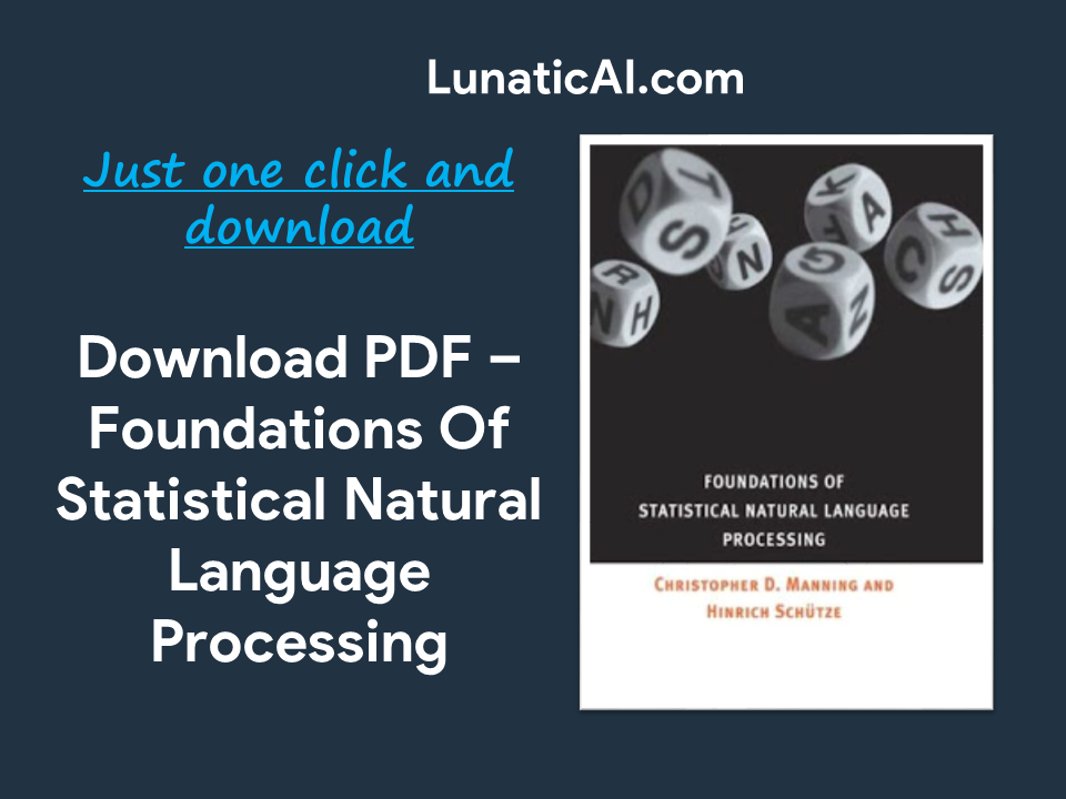 Foundations of Statistical Natural Language Processing PDF Github