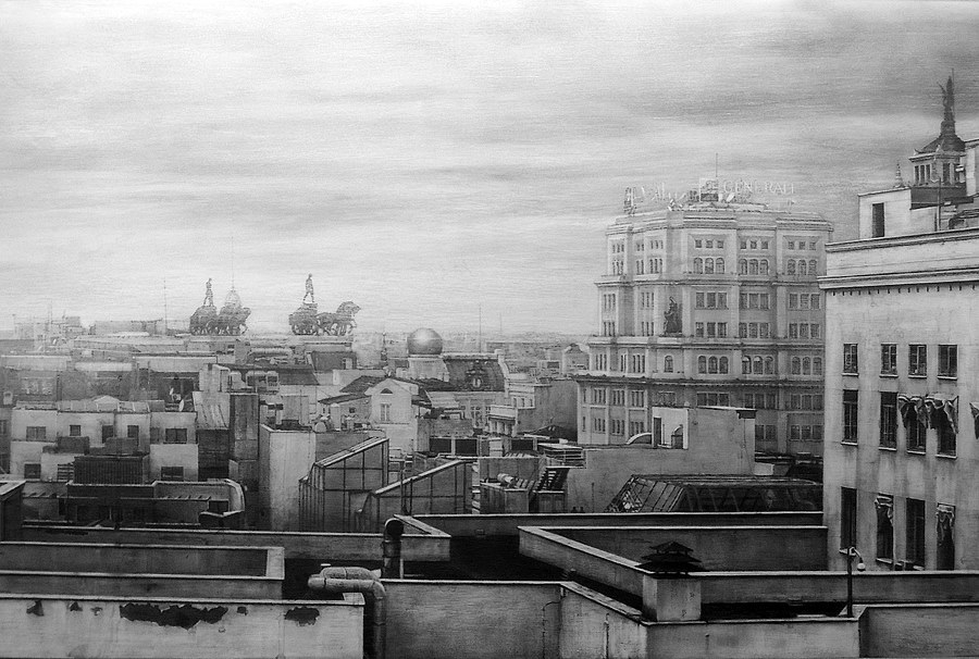 02-Chariots-over-Madrid-Fausto-Martin-Realistic-Black-and-White-Pencil-Drawings-www-designstack-co