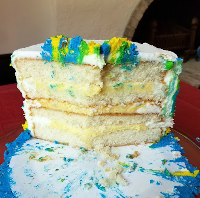inside of white cake with shortcut bavarian cream pudding filling