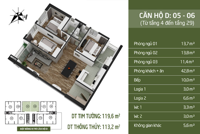 Thiết kế căn hộ D Taseco Complex