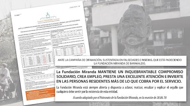 Publicidad de la Fundación Miranda en el periódico El Correo