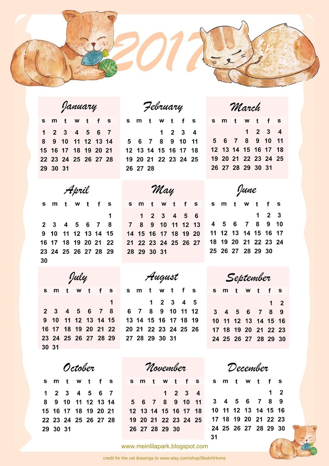 Free printable 2017 cat calendar ausdruckbarer kalender freebie