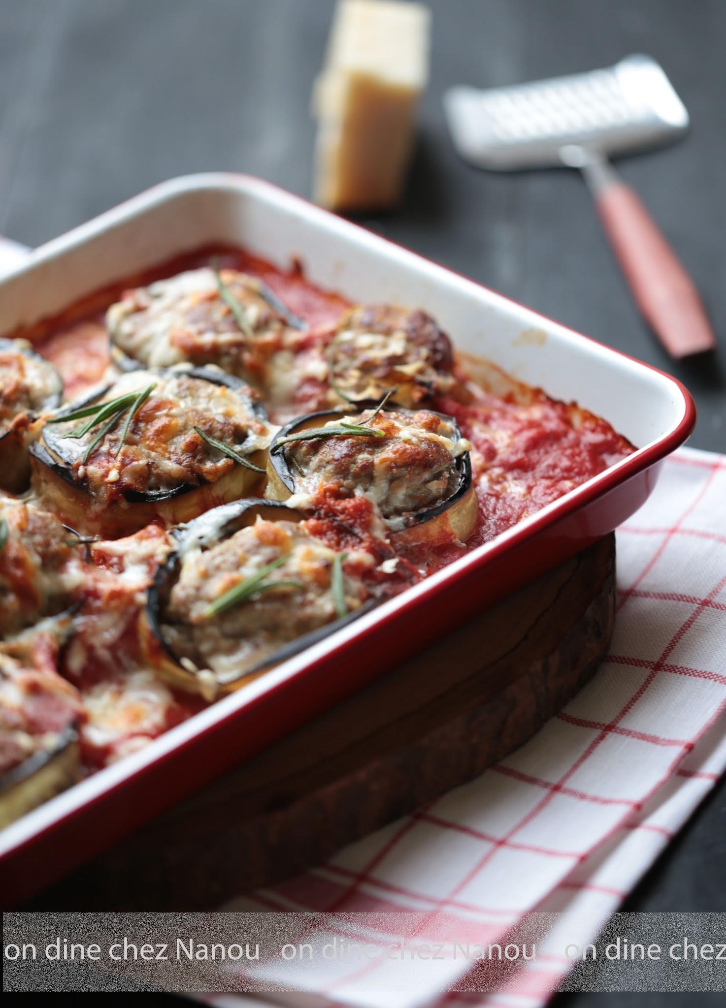 boulettes, porc, boeuf, tomates, aubergines, parmesan , repas famille , facile