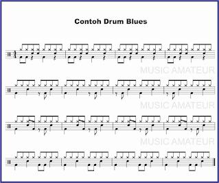 gambar beat drum blues pada not balok