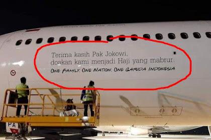 "DIPROTES! Tulisan Ucapan ""Terima kasih Pak Jokowi"" di Badan Pesawat Haji Garuda"
