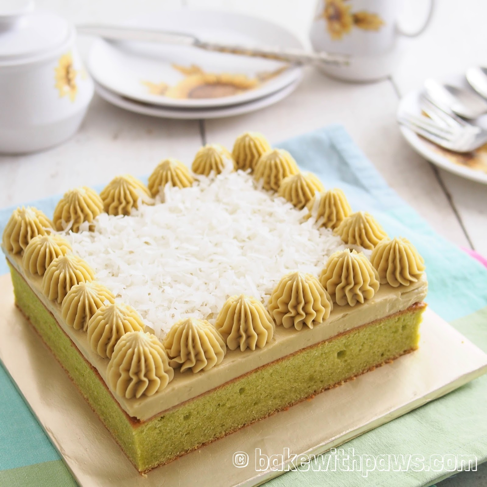 Pandan Butter Cake With Gula Melaka Swiss Meringue