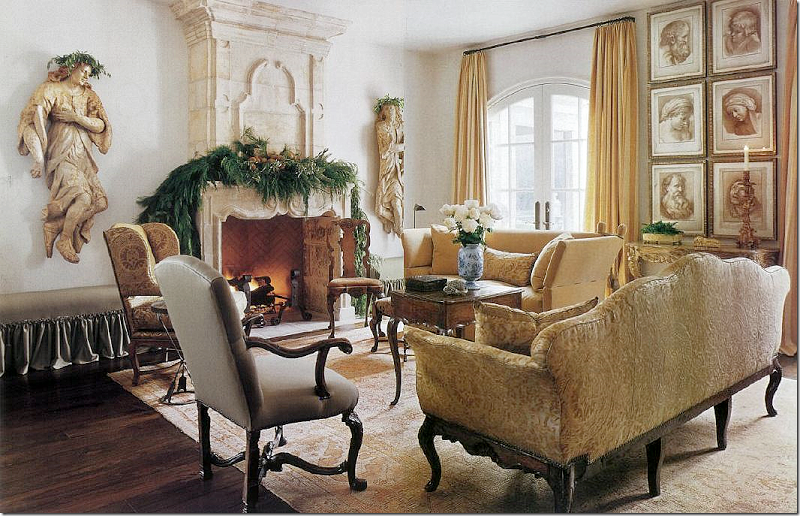 image result for Pam Pierce Christmas decorating French fireplace mantel holiday living room