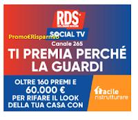 """Concorso """"RDS SOCIAL TV"""" : vinci gratis 60.000 euro per ristrutturare casa e oltre 160 premi"""