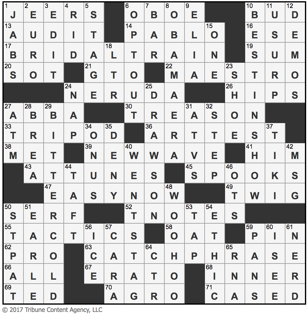 L.A.Times Crossword Corner: Wednesday, August 9, 2017