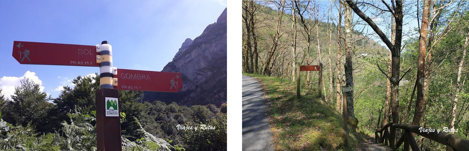 Carteles de señalización de rutas de senderismo